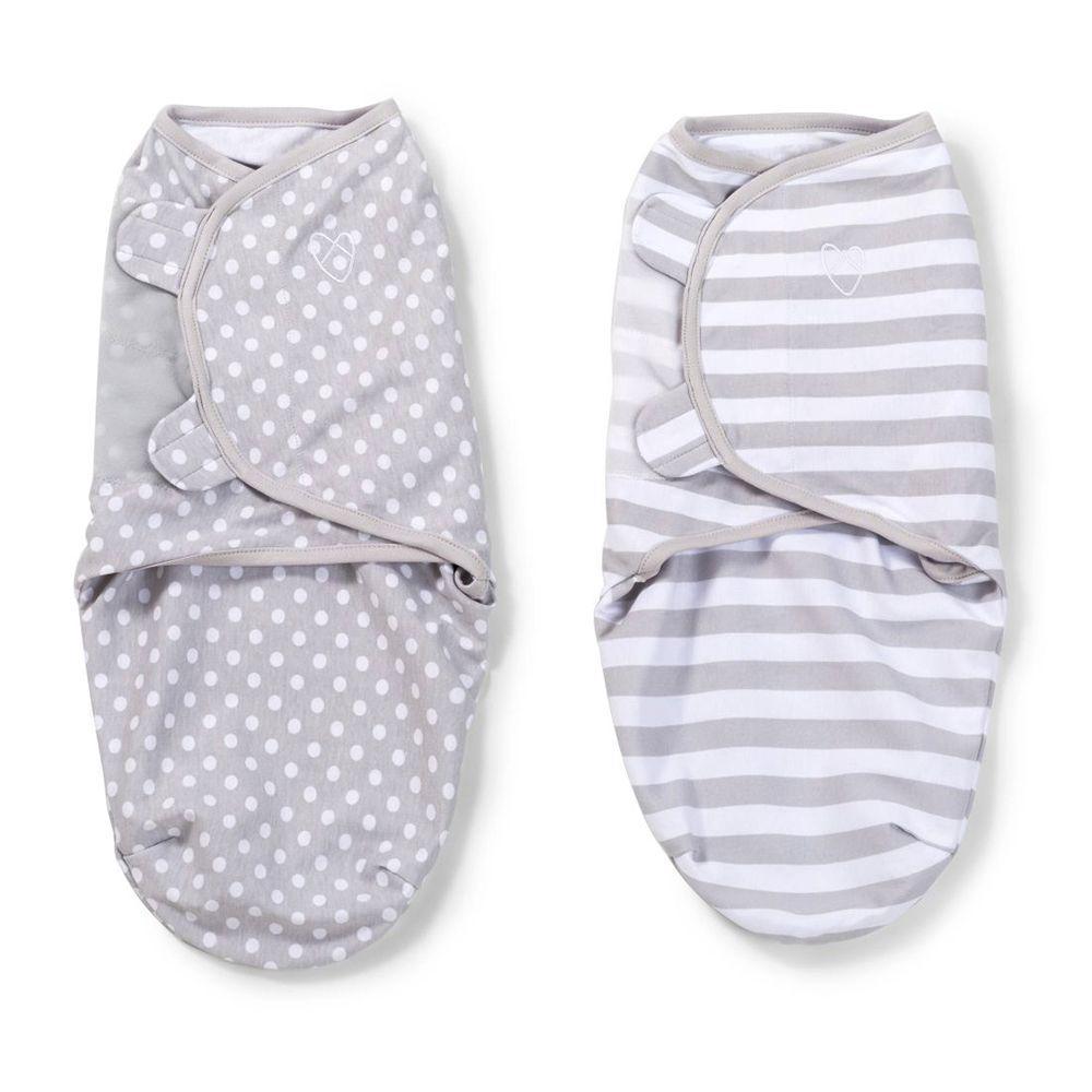 Summer Infant Original Swaddle 2 Pack Grey Dot Amp Stripe