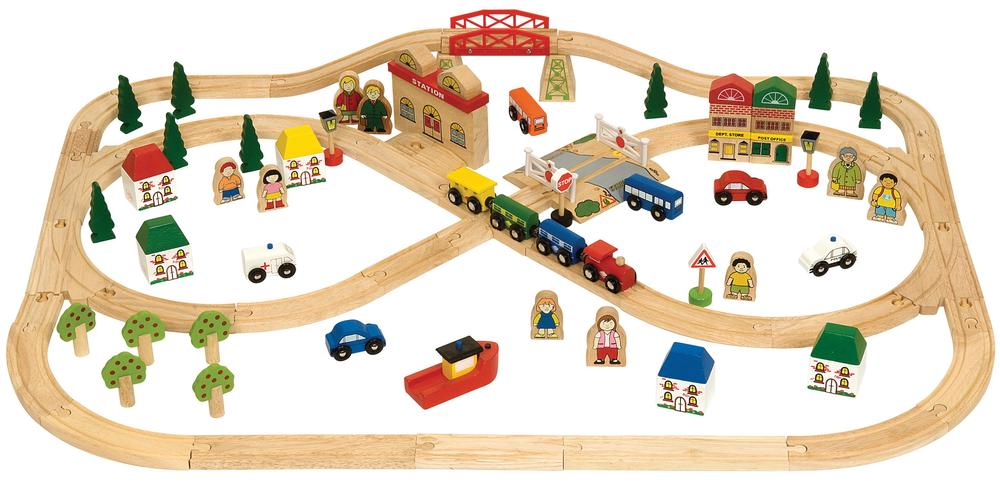 bigjigs town country train set 101 pieces buy online at the nile. Black Bedroom Furniture Sets. Home Design Ideas