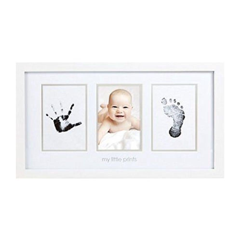 Pearhead Newborn Baby Handprint & Footprint Photo Frame Kit (White ...