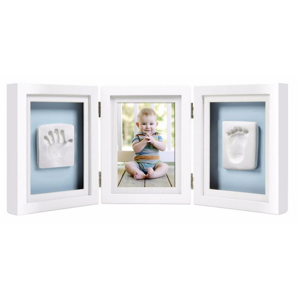 Pearhead Newborn Baby Handprint & Footprint Deluxe Photo Desk Frame & Impression Kit (White)