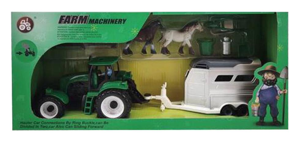 All Brands Friction Farm Tractor with Horse Float and Accessories