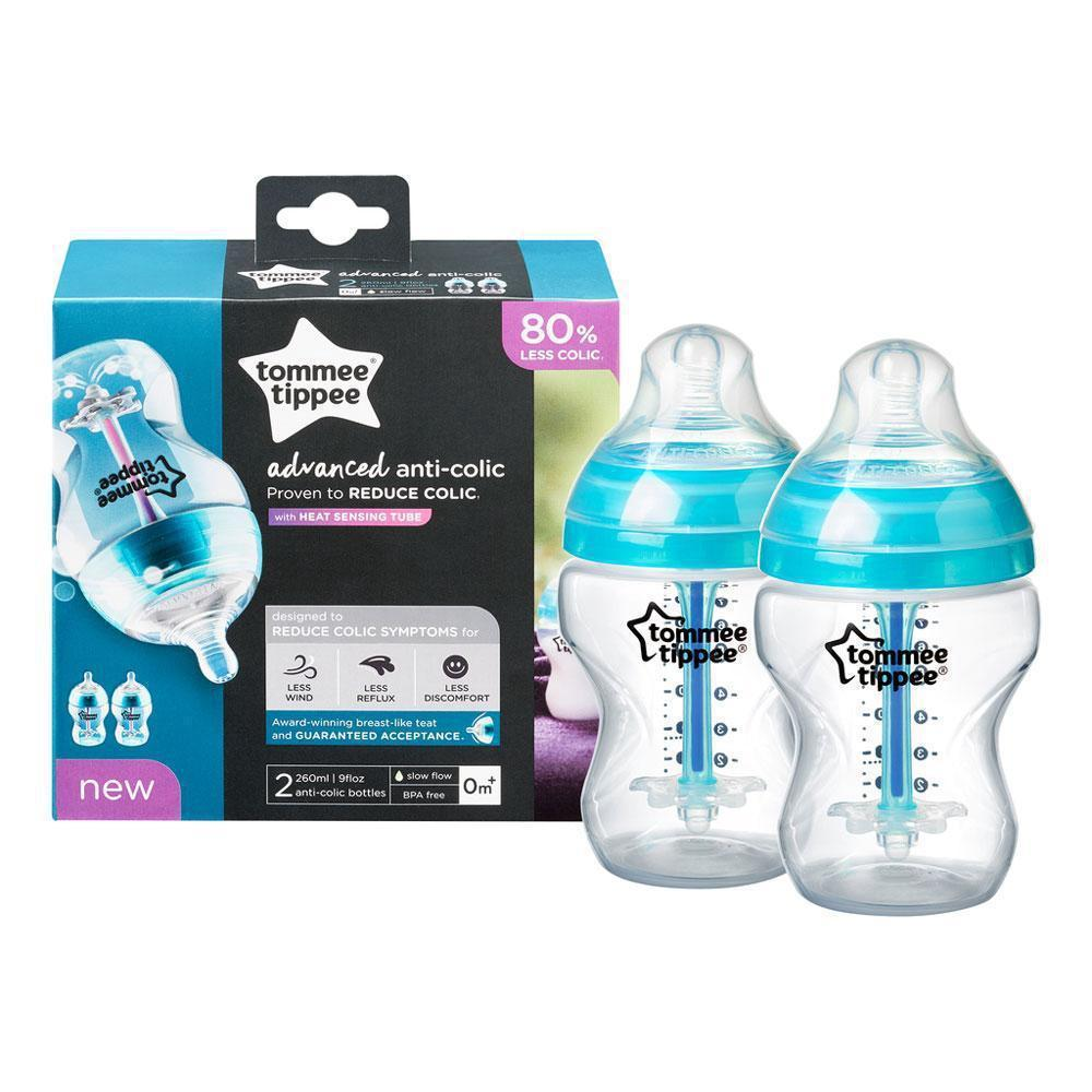 Tommee Tippee Anti-Colic Bottles, 2 Pack - 260mL