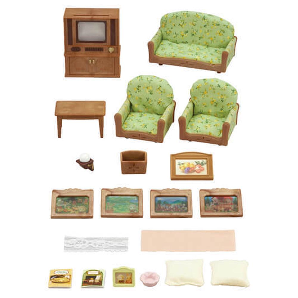 sylvanian families kitchen and living room collection sylvanian families living room amp tv set buy at 27292