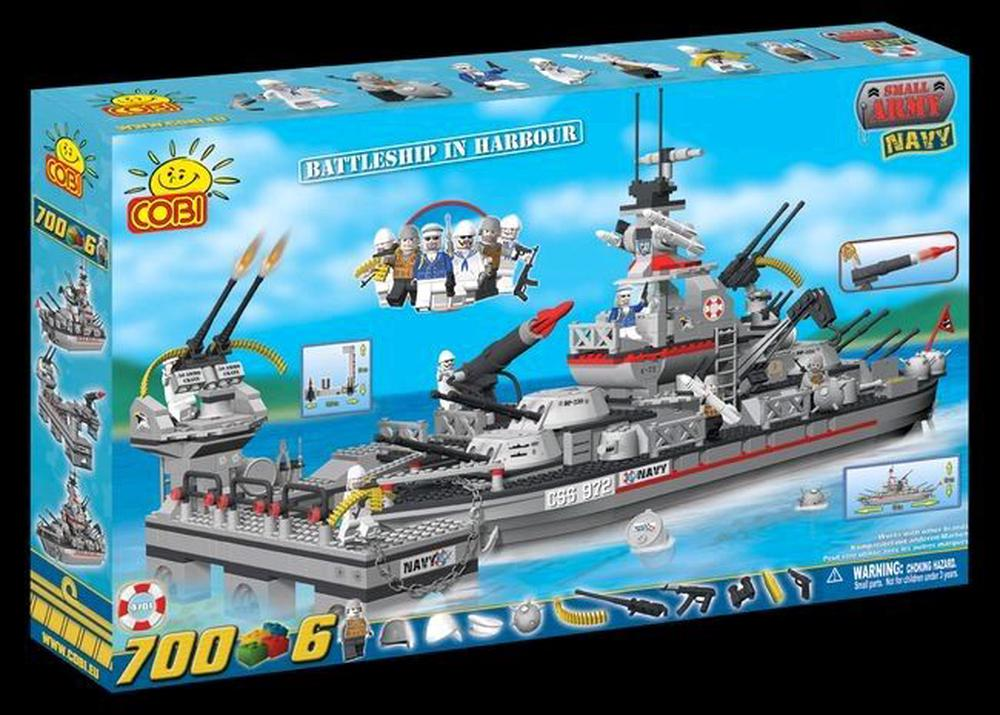 Cobi Small Army 700 Piece Battleship Cruiser In Harbour