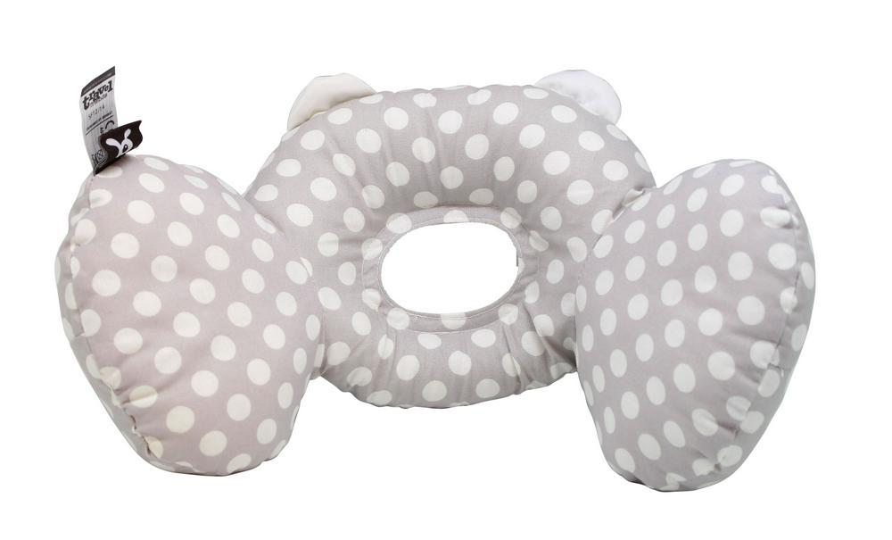 Benbat Bear Hug Support Pillow & Infant Headrest (Grey/White Dots)