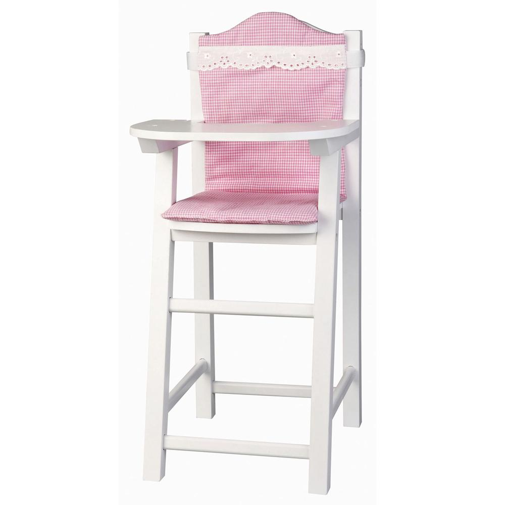 Micki White Wooden Dolls High Chair With Cushion