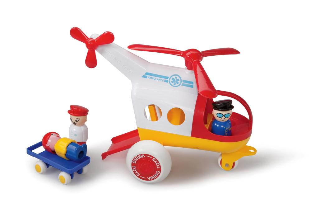 Viking Toys Jumbo Ambulance Helicopter With 3 Figures & 1 Stretcher