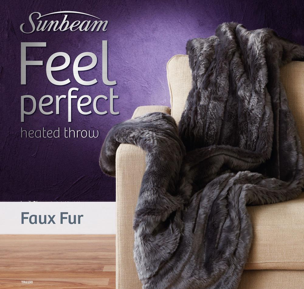 Sunbeam Feel Perfect Faux Fur Heated Throw Rug Online