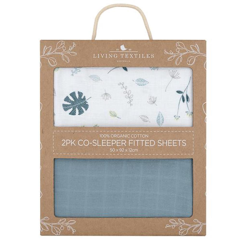 Living Textiles Organic Muslin Cradle/Co-Sleeper Fitted Sheet, 2 Pack (Banana Leaf/Teal)
