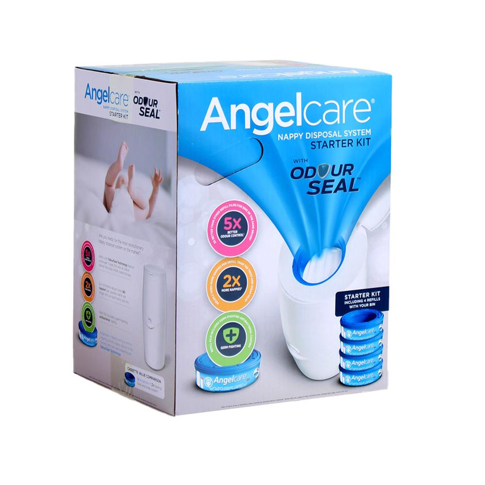 Angelcare Baby Nappy Disposal System Starter Kit - Bin & 4 Cassettes