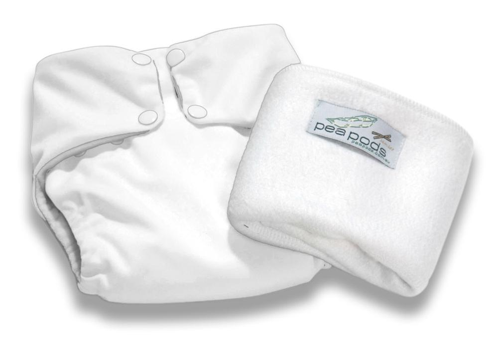 Pea Pods Reusable One Size Nappy (White)