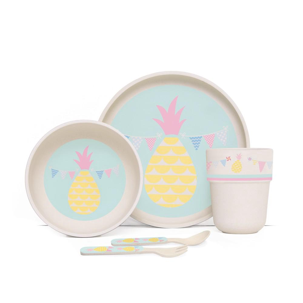 Penny Scallan Design Bamboo Meal Set With Cutlery (Pineapple Bunting)