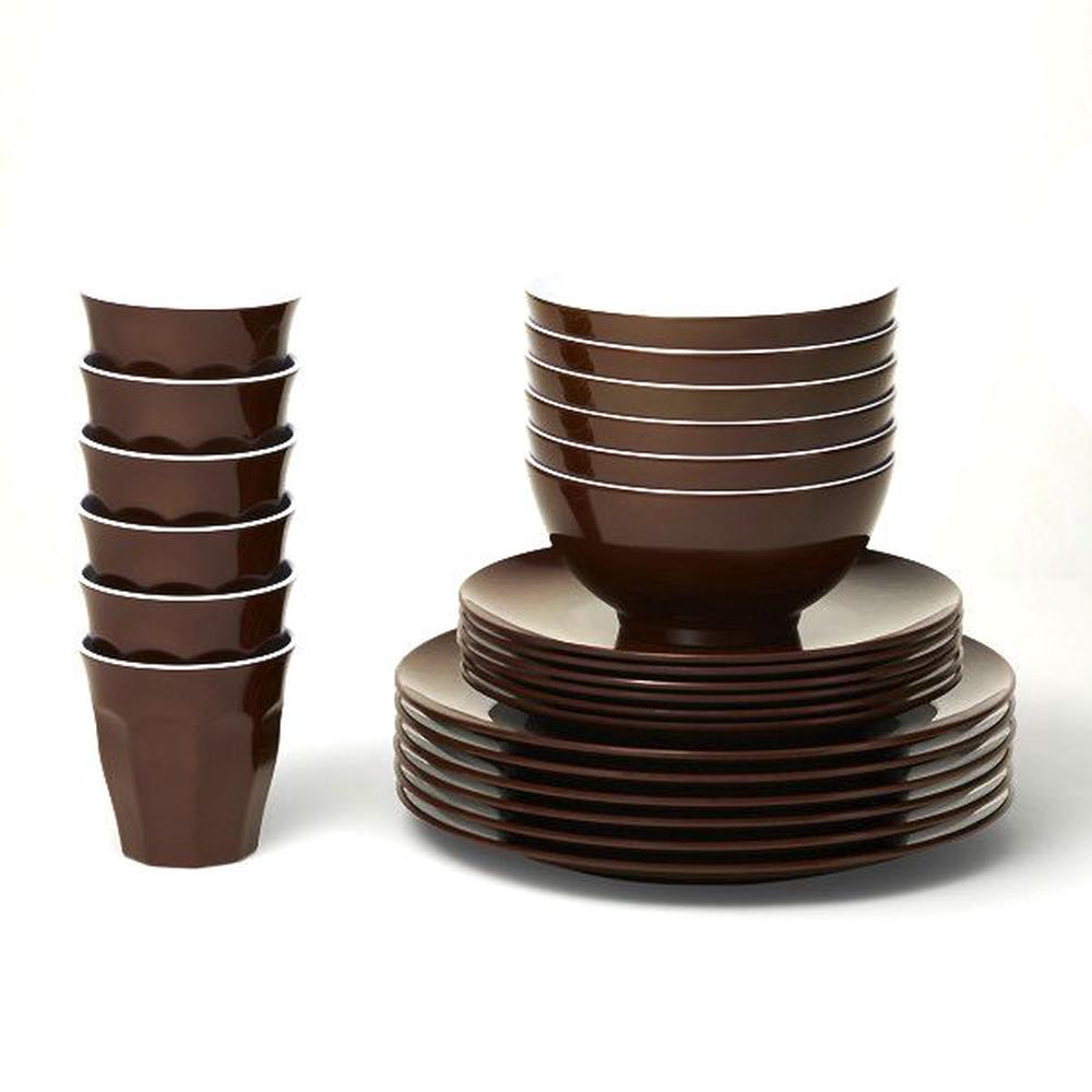 Barel Designs Classic Melamine Set (Brown) - 48 Pieces | Buy online