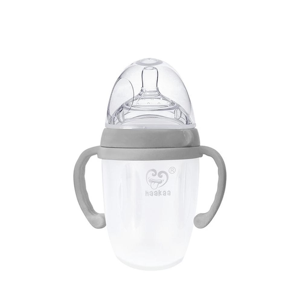 Haakaa Silicone Baby Bottle With Handle (Grey) - 250mL