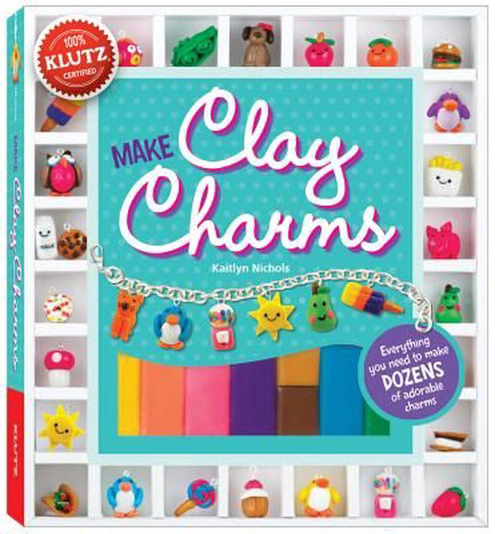Make Clay Charms [With Clay Shaping Tool, Glaze, Charm Loops, Jump Rings and Charm Bracelet and 9 Bright Colors of C