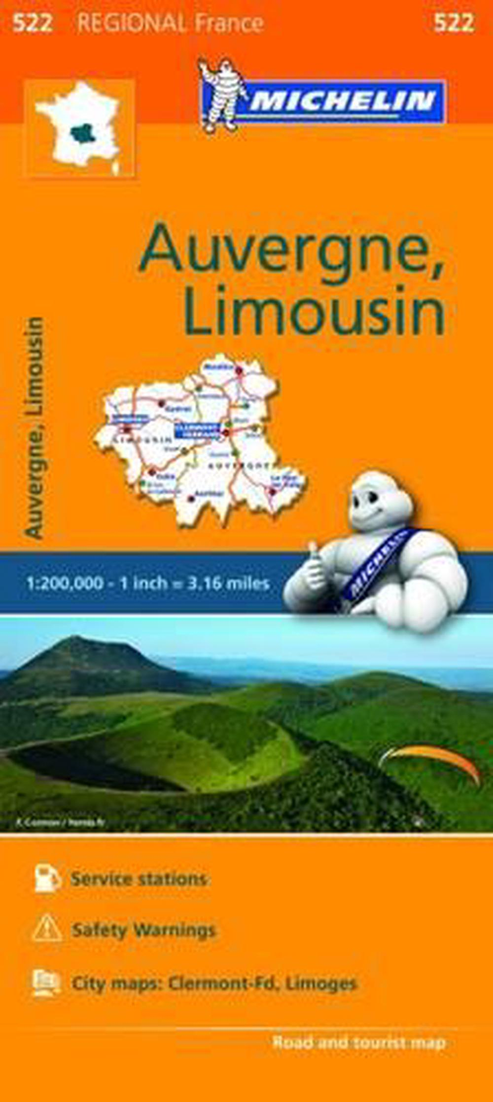Michelin Regional Maps: France: Auvergne, Limousin Map 522