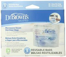 Dr. Brown's Microwave Steriliser Bags (5 Bags Per Pack) For Baby Bottle Parts