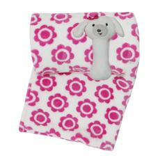 Little Haven Flower Blanket With Puppy Rattle