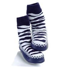 Sock Ons Mocc Ons Kids Slipper Socks (Zebra) - 18 Months - 2 Years