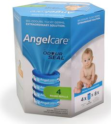 Angelcare Baby Nappy Bin Disposal Refill Cassettes, 4 Pack