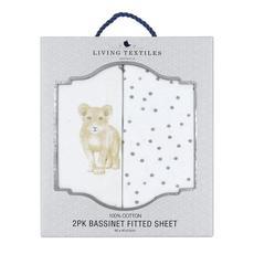 Living Textiles Jersey Bassinet Fitted Sheet, 2 Pack (Savanna Babies/Pitter Patter)