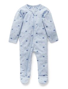 Purebaby Zip Growsuit (Pale Blue Leaf) - Size 0