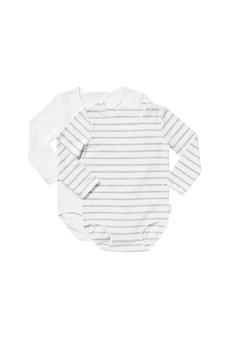 Bonds Wonderbodies Long Sleeve Bodysuit, 2 Pack (White/Grey Stripe) - Size 2